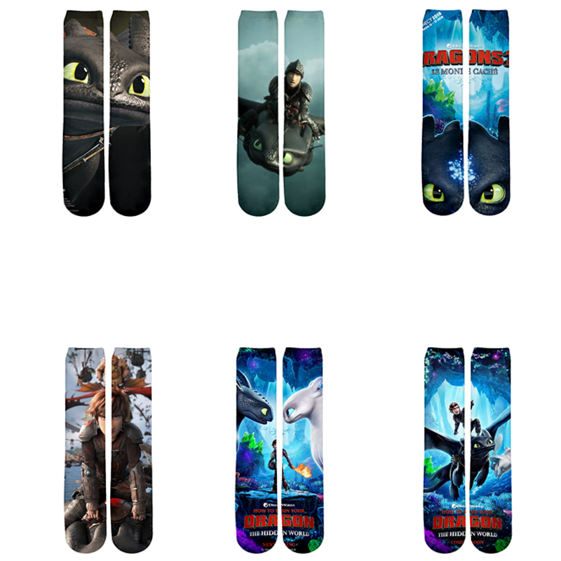 Plstar Cosmos New Moives How To Train Your Dragon The Hidden World New Cartoon 3d Print Men Women Funny Socks 3D Socks Quality