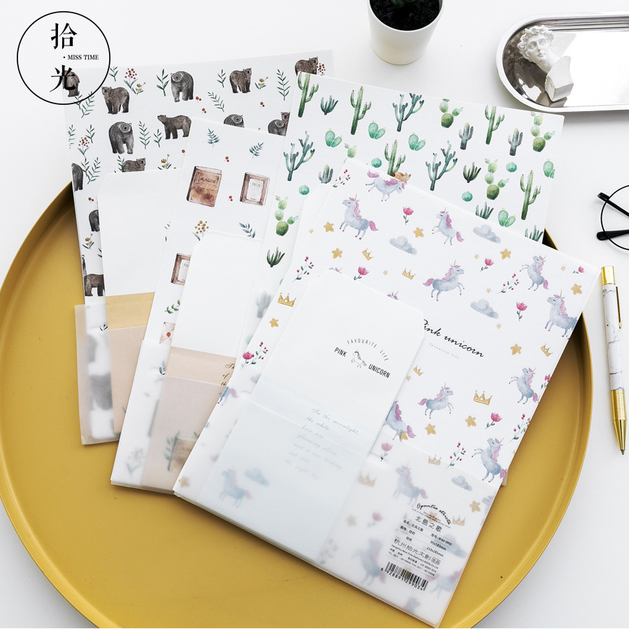 9 Pcs/Set 3 Envelopes+6 Letter Papers Cartoon Animal Unicorn Cactus Letter Envelope Set Gift Stationery