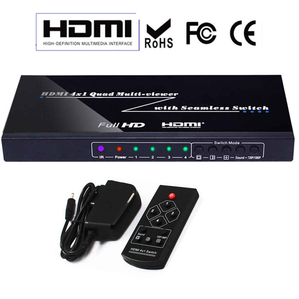 HDMI 4x1 Quad Multi-Viewer Switcher 4 Ports 1080P 3D with Seamless Switcher IR Control 4 Channel Image Picture Splitter Display podofo 4 channel cctv color video quad splitter switcher camera processor system kit with remote control 5 bnc adapter