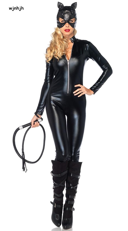 Сексуальный костюм искусственная кожа черный сексуальный женщина кошка латексный костюм кошки эротический костюм кошки Хэллоуин косплей маскарадный костюм M L XL XXL