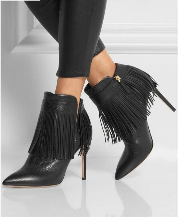Rome noir PU bout pointu bottines talon aiguille Zip chaussures pour femmes mode frange 10 CM bottes de chevalierRome noir PU bout pointu bottines talon aiguille Zip chaussures pour femmes mode frange 10 CM bottes de chevalier