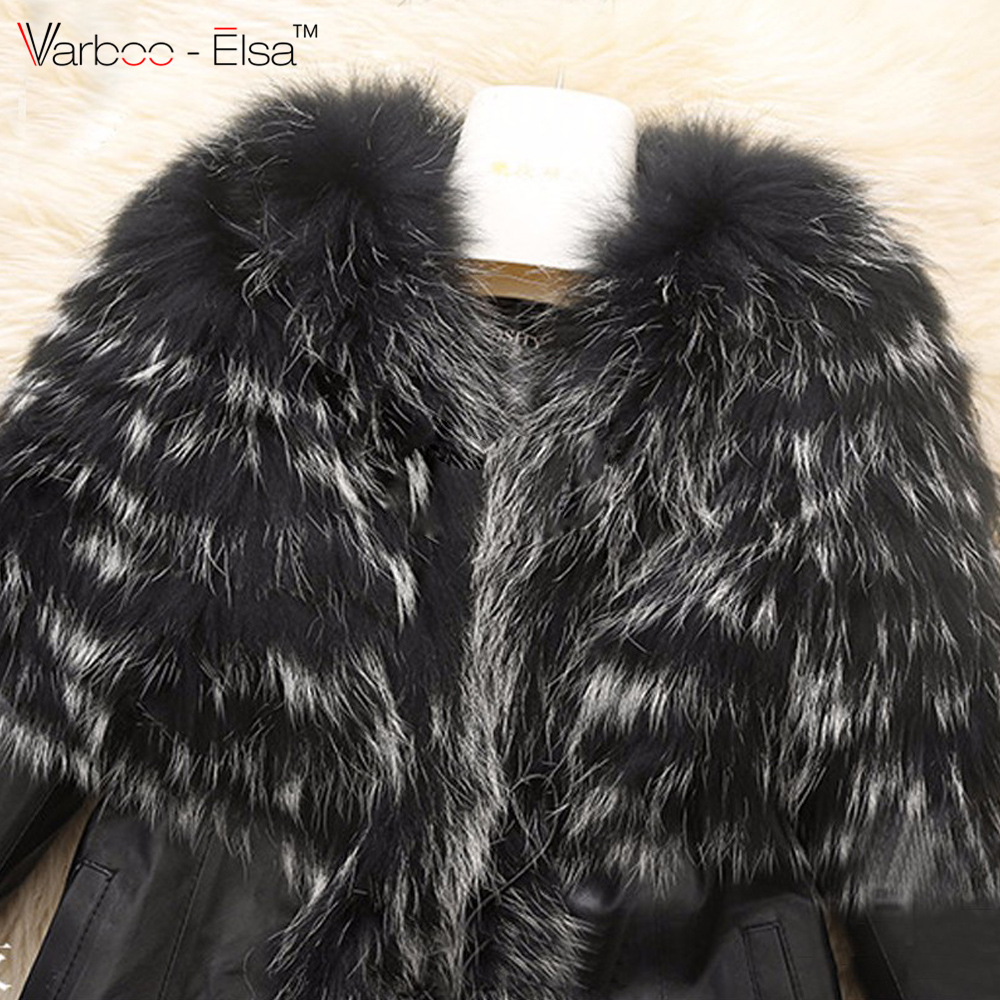 c3bb5b3ce9da VARBOO ELSA 2016 Winter New fashion Women s Warm Fur Collar Coat Leather  Jacket long sleeve Outwear black faux fur plus size 6XL-in Leather   Suede  from ...