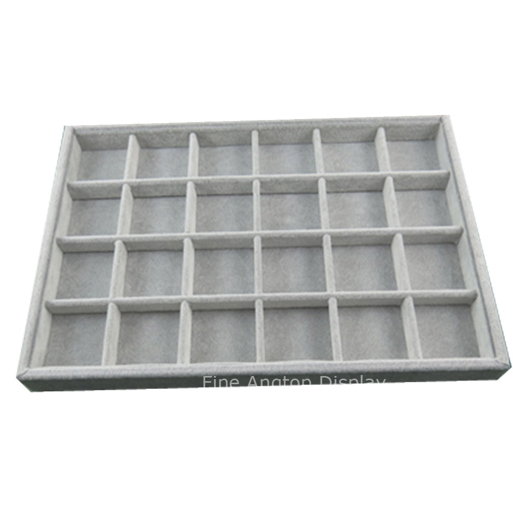 24 compartment gray velvet jewelry holder display tray organizing earrings rings pins pendants bracelet brooch carrying case