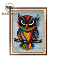 FineTime 5D Cute Owl DIY Animals Diamond Painting Partial Round Drill Diamond Embroidery Mosaic Cross Stitch finetime owl 5d diy diamond painting partial round drill diamond embroidery animal cross stitch