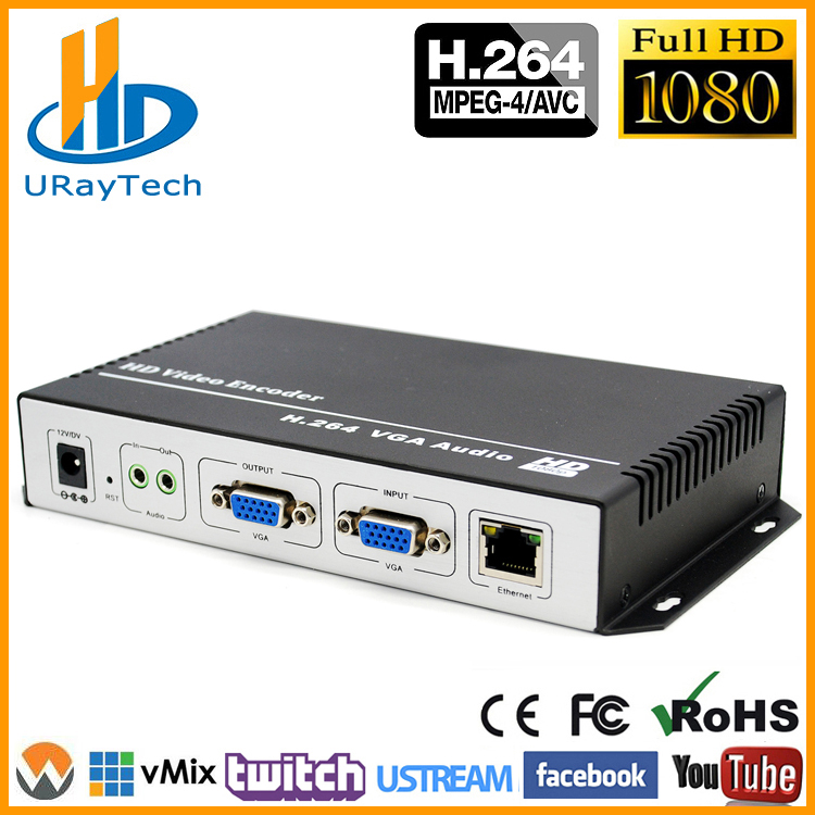 URay H.264 VGA + Stereo Audio til IP Stream Encoder IPTV Live Streaming Encoder Support HTTP, RTSP, RTMP, UDP, ONVIF