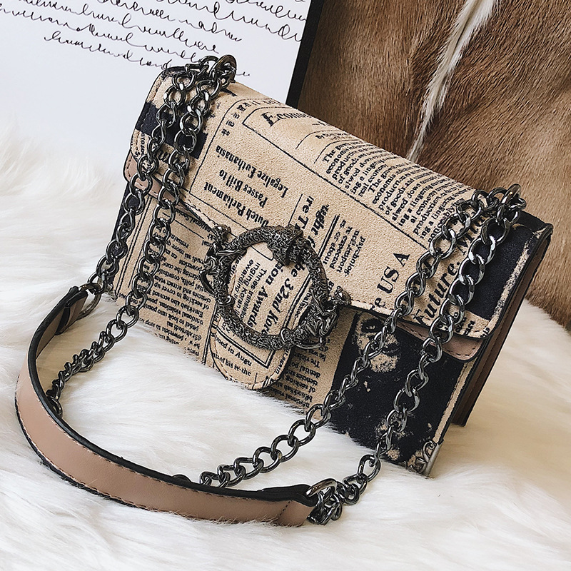 7351781f07f1 Chic Newspaper Printing Scrub Leather Handbag Luxury Women Chain Shoulder  Bags Vintage Round Buckle Messenger Bag Crossbody Bag