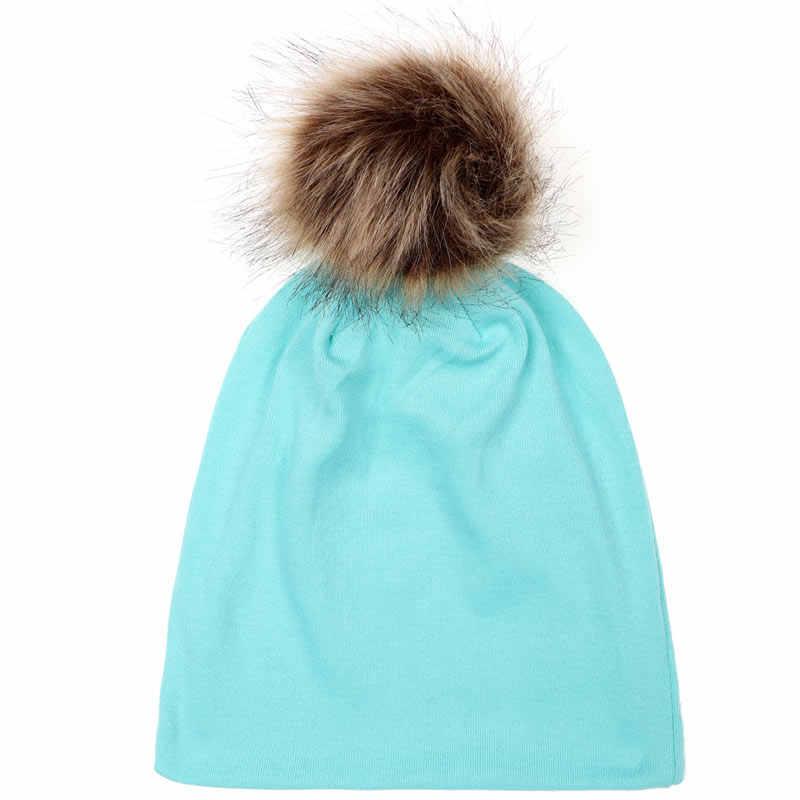 2018 New Arrival Chapéu Do Bebê Tampão Do Bebê da Pele Do Falso Quente Pompom De Algodão Para Crianças Meninos E Meninas Bonés de Inverno Artificial chapéu das Crianças de pele