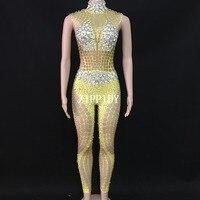 Sparkly Sexy Gold Sparkly Stones Bodysuit Women Celebrate Jumpsuit Singer Dancer Performance Fashion Stretch Leggings O
