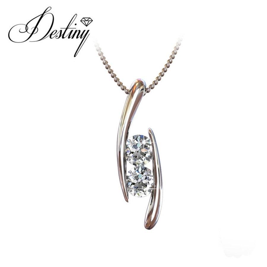 Destino Jóias Embelezado com cristais de Swarovski colar 925 pingente de prata esterlina DP0111