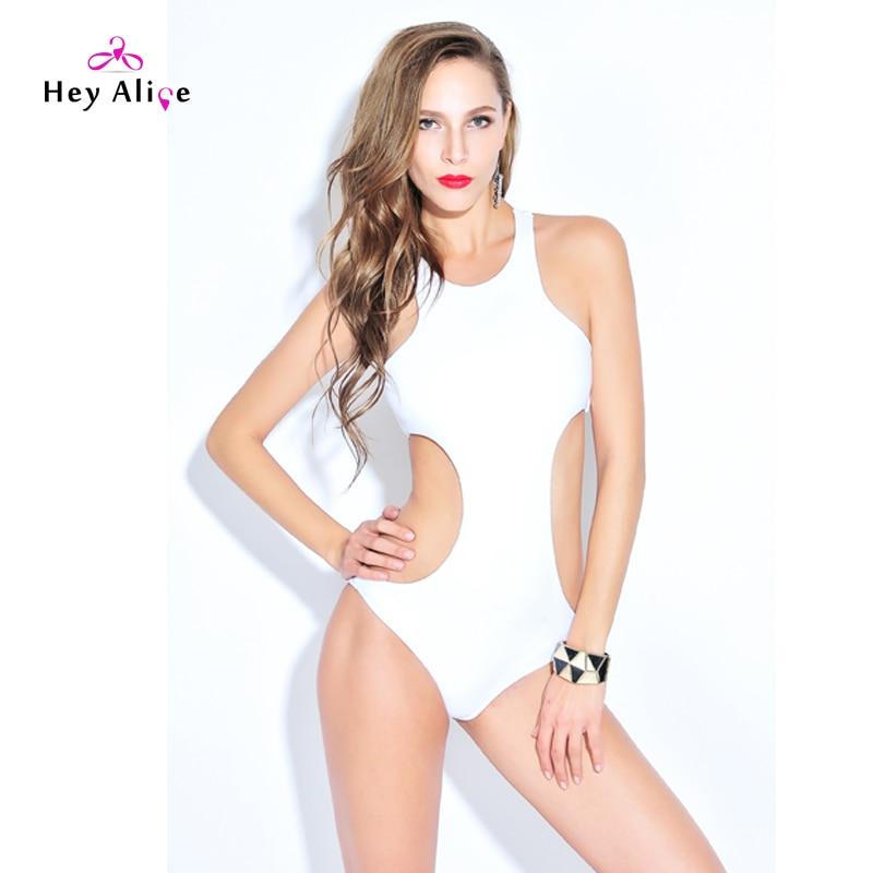 New 2016 Swimwear Women Padded Push Up High Neck One Piece Swimsuit Hollow Sexy Monokini Swimsuits Bathing Suits White Bodysuits 2017 new mesh swimwear women one piece swimsuit sexy high waist bandeau push up bikini sheer bathing suits bodysuit monokini