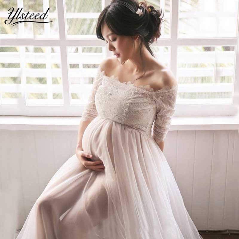 Maternity Photography Dress Off Shoulder Lace Maternity Dress Graceful White Maxi Maternity Gown Pregnant Dress for Photo Shoot graceful low cut wrap high slit print pure color maxi dress