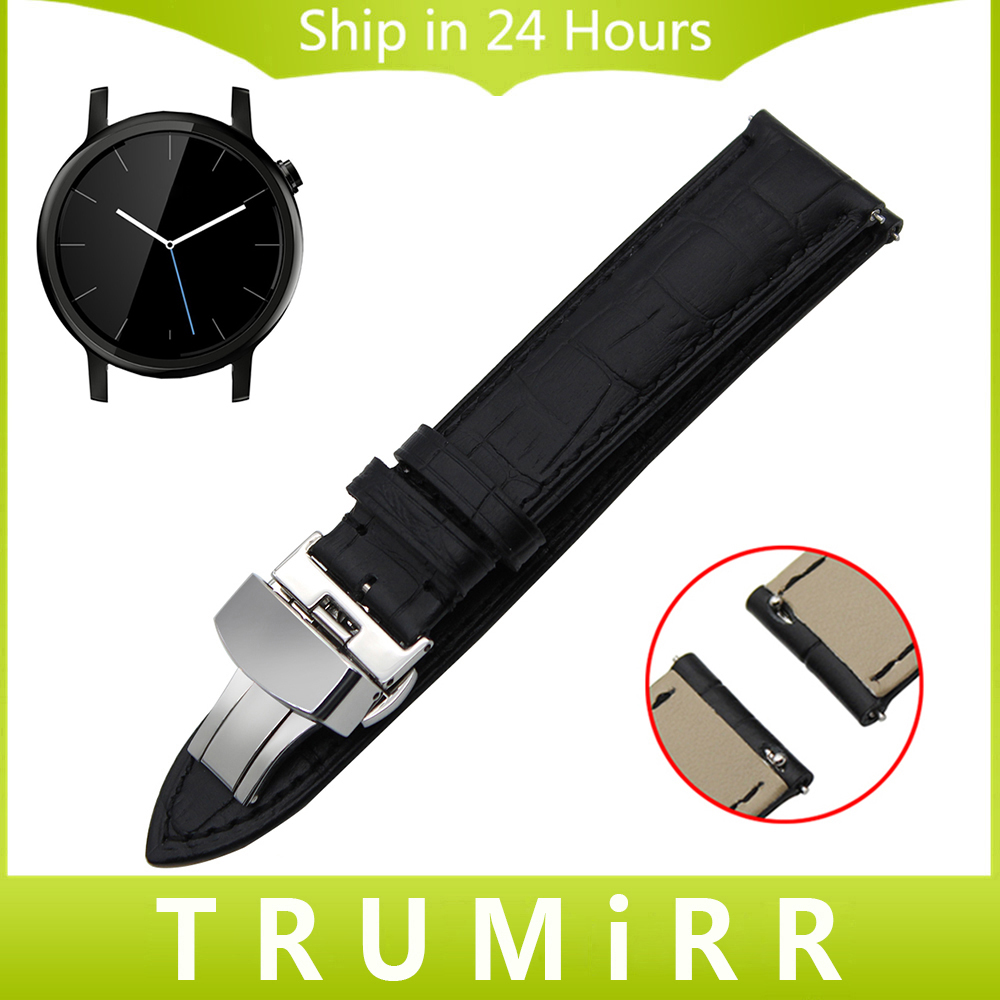 20mm Quick Release Watchband Genuine Leather Strap for Moto 360 2 2nd Gen 42mm Men Watch Band Butterfly Buckle Wrist Bracelet