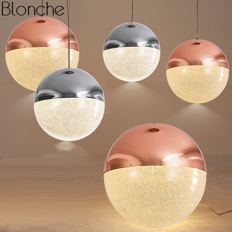 Modern Crystal Ball Pendant Lights Loft Industrial Glass Globe Led Hanging Lamp Dining Room Kitchen Home Decor Lighting Fixtures modern led crystal pendant lights fixtures magic crystal ball lustre loft stairwell 12 crystal light meteor shower crystal lamp