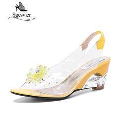 SGESVIER femmes sandales Rome élégant de haute qualité mode sandales à talons compensées robe chaussures décontractées dame sandales grande taille 43 OX009