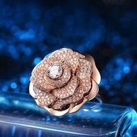 Роскошные 18 К розовое золото GIA алмаз камелии Обручение кольцо для Для женщин 0.50 + 0.924ct натуральный GIA алмаз обручальное кольцо ручной работы