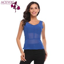 ACEVOG 2017 New Women Sexy See Through Chiffon Tops Fashion V-Neck Sleeveless Slim Sold Blouse Shirt Chiffon Tops Ladeis Blusas