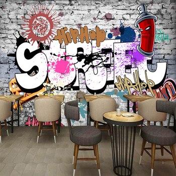 Custom 3D Wall Murals Wallpaper Creative Art Retro Street Graffiti Bar Restaurant Background Decor Large Wall Painting Wallpaper цена 2017