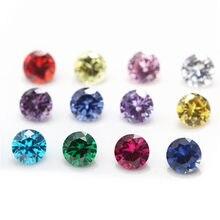 12pçs cor cz 1 pçs por cores 4mm ~ 10mm, pedra de aniversário, solta, zircônia cúbica cz sintético corundum5 # girel113 #