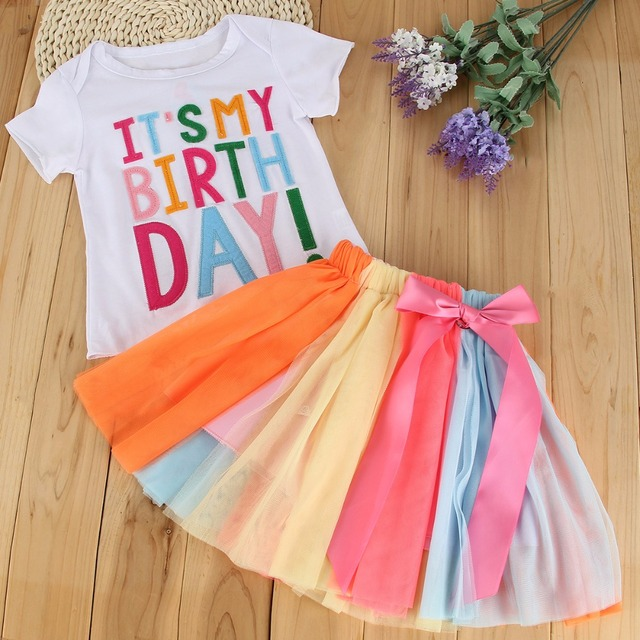 Puseky 2017 Summer Baby Kids Girls Clothes Its My Birthday Letter Print T Shirt Tutu Skirt Dress Outfit Set 1 5T