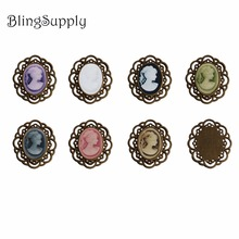 Free shipping oval cameo metal button flatback can choose colors 20PCS/lot(BTN-5658)