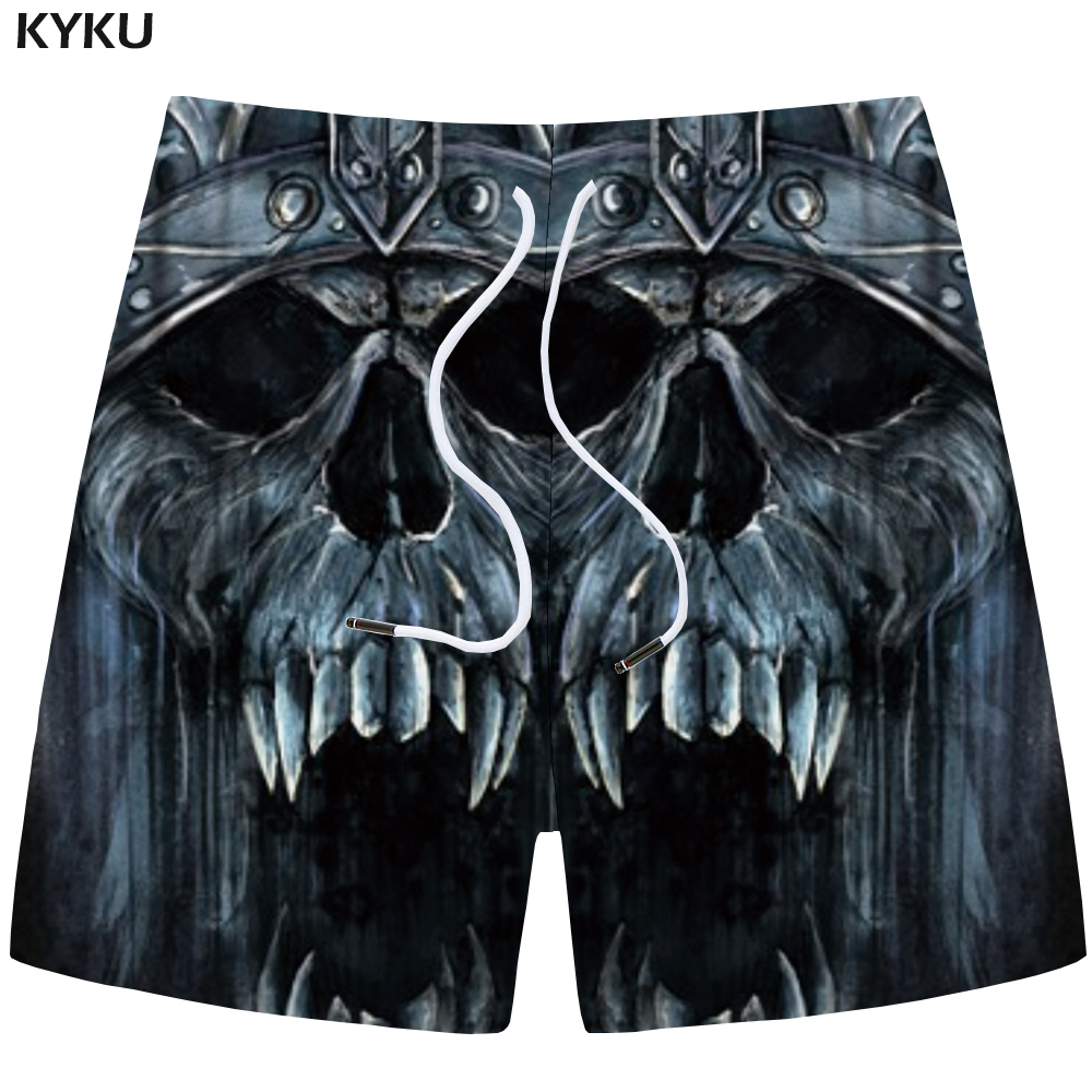 KYKU Skull Shorts Men Gray Cargo Shorts Casual Gothic Angry 3d Print Shorts Beach Fitness Mens Short Pants Summer 2018 Fitness