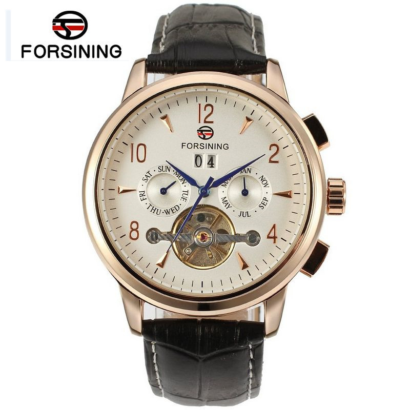 Forsining Watch Men Rose Gold White Dial Day/Week/Month Auto Mechanicl Watches Gift Box Free Ship 2017 forsining watch men s day week month autotoubillion mechanism wristwatch black leather strap gift box free ship