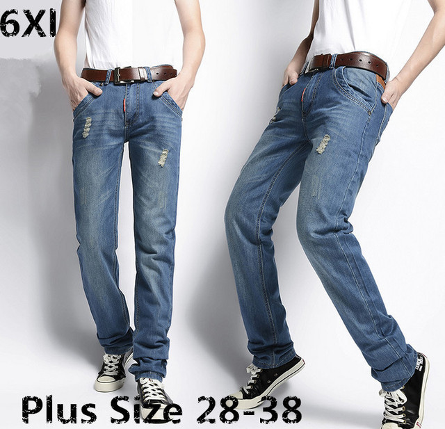 Plus  size men's jeans straight Slim Korean version of the influx of casual trousers feet hole in thin section