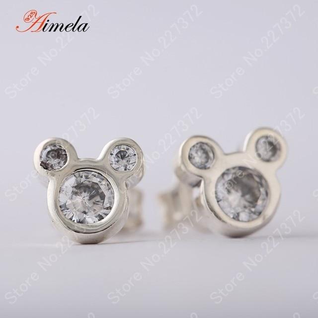 AIMELA Jewelry AAA CZ Diamond Mickey Stud Earrings For Women Authentic 925 Sterling Silver Cartoon Brincos European Fine Jewelry