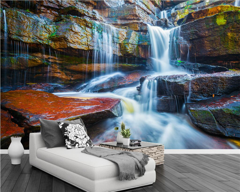 Custom 3d Nature Mural Wallpaper Nature Scenery For Walls: Beibehang Custom Wallpaper Murals Mountain Stream