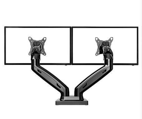 2 Screens Monitor Mount Gas Spring 360 Degree Desktop 17-27 Dual Monitor Holder Arm Full Motion TV Mount NB F160 nb f180 gas spring full motion 17 27 dual screen monitor holder desktop clamping or grommet tv mount with usb and audio port