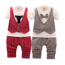 Boys suit shirt + trousers boy wedding dress childrens gentleman casual chic 1-3 years old (2017) new design set cotton hi