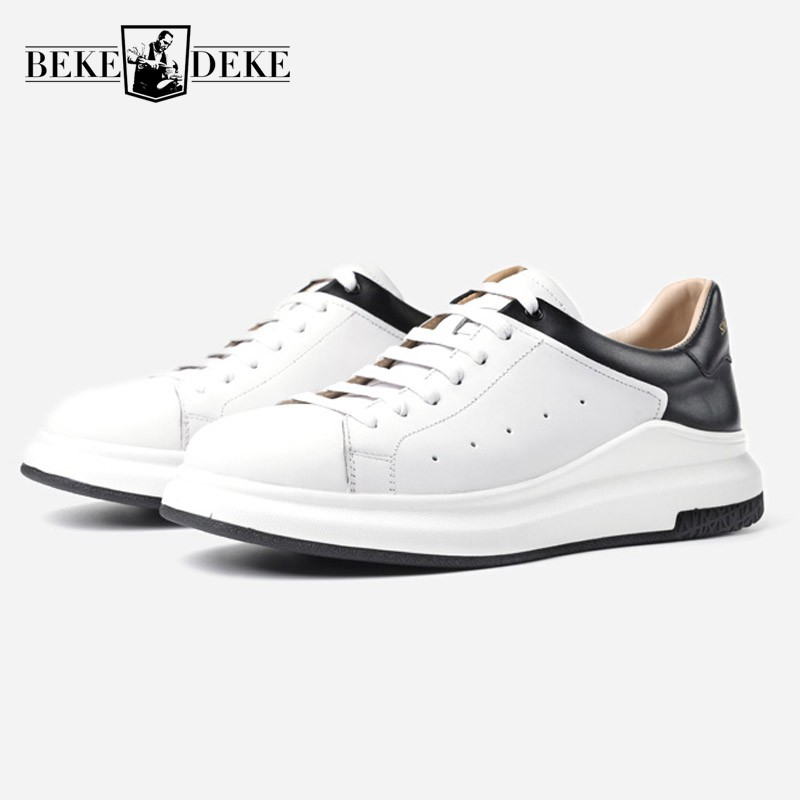 Men Genuine Cow Leather Black White Casual Shoes 2018 New Students Breathable Footwear Male Lace Up Thick Platform Driving Shoes 2018 new ankle strap sandals for men casual beach holiday shoes male genuine leather fashion thick platform slipper footwear