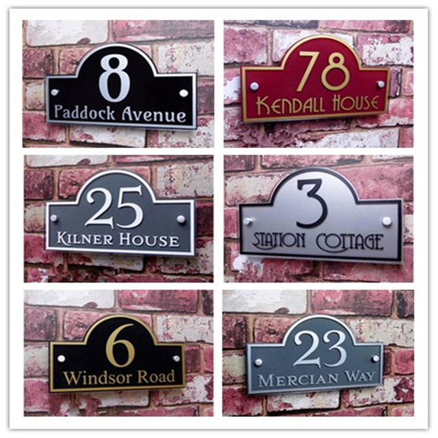 502d5d0b9a1 Custom House shape Modern Outdoor Frosted Plaque Acrylic Door Number  Address Home Sign