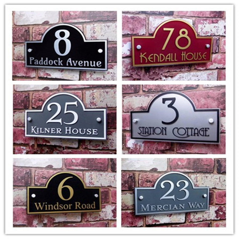Customized Outdoor Frosted Plaque Acrylic Door Number Address Home Sign #C02