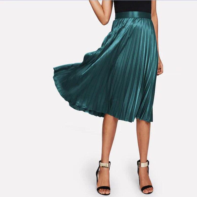 Fashion Dark Green Pleated High Waist Knee Length Elastic Satin Skirts Women Zipper Style Adult Skirt 2019 Faldas Mujer Moda