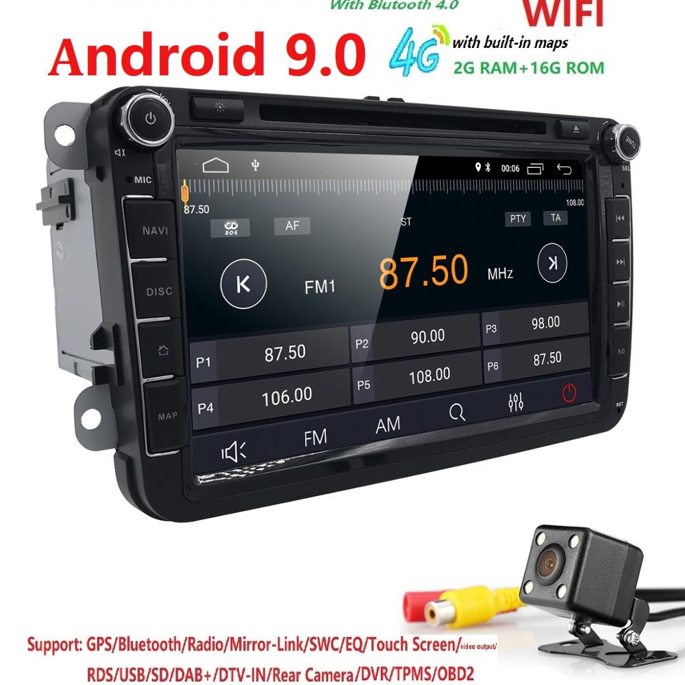 "8 ""Android 9.0 DSP IPS BT5.0 AUTO DVD 2DIN GPS Navi Autoradio Navi Für VW Touran Polo T5 Auto Multimedia -player-Monitor Bluetooth"