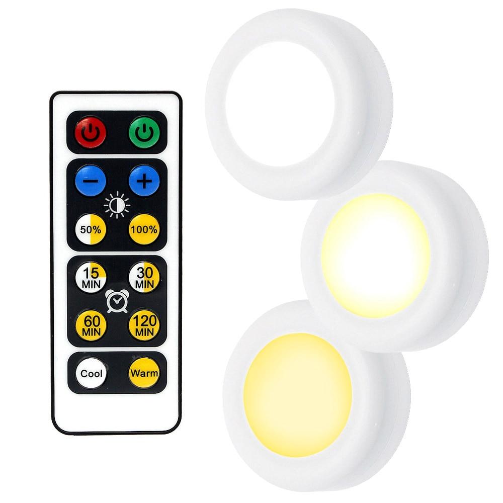 Светодиодный ночник с беспроводным пультом дистанционного управления с питанием от аккумулятора и регулируемой яркостью под шкафом для ку...