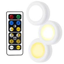 LED Gece Işık Kablosuz uzaktan kumanda pili Powered Dim Altında dolap lambası Için Mutfak Duvar Dolap Dolap Lambası