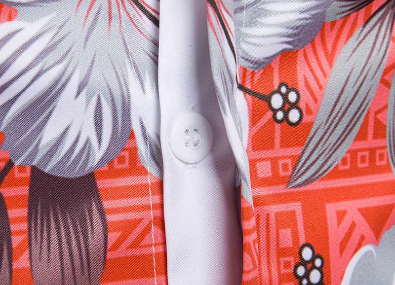 Мужская Летняя модная Гавайская Повседневная рубашка 2018 узкое, с цветочным принтом, с коротким рукавом, на пуговицах, Пляжная рубашка для мужчин Camisa Masculina