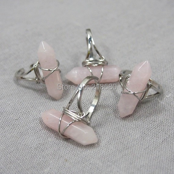 H-ADR06  Healing  Crystal Rose Pink Quartz  Point Silver Ring