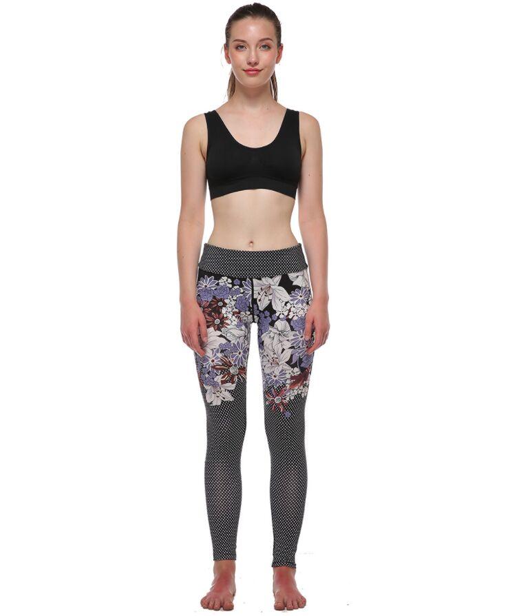 Printed Yoga Pants Quick Dry Elastic Women Yoga Leggings Sports Fitness Gym Bodybuilding Legging Capris Trousers Female Jogging