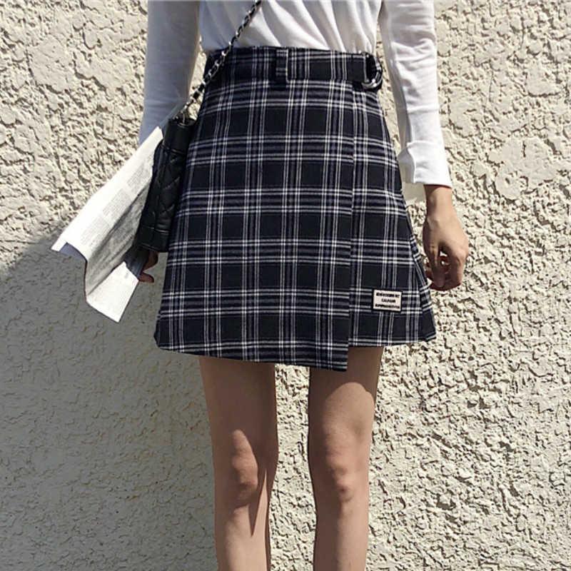 Korea Chic Plaid Mini spódnice wysokiej talii skrzydeł klamry zamek czerwony/żółty/czarny sprawdź Plaid-line krótkie spódnice