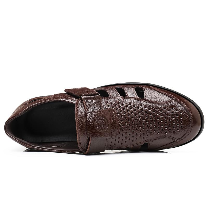 Mou brown Mâle Respirant De Cuir Black En Sandalias Classiques Chaussures Mode Plage Luxe D'été Fond Sandales Hommes Appartements w1TPfwq