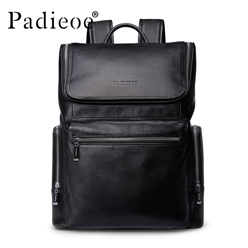 Padieoe 2017 New Fashion Genuine Leather Men Backpack Youth Black Luxury Designer Rucksack Unisex male Daypack Mochila Backpacks
