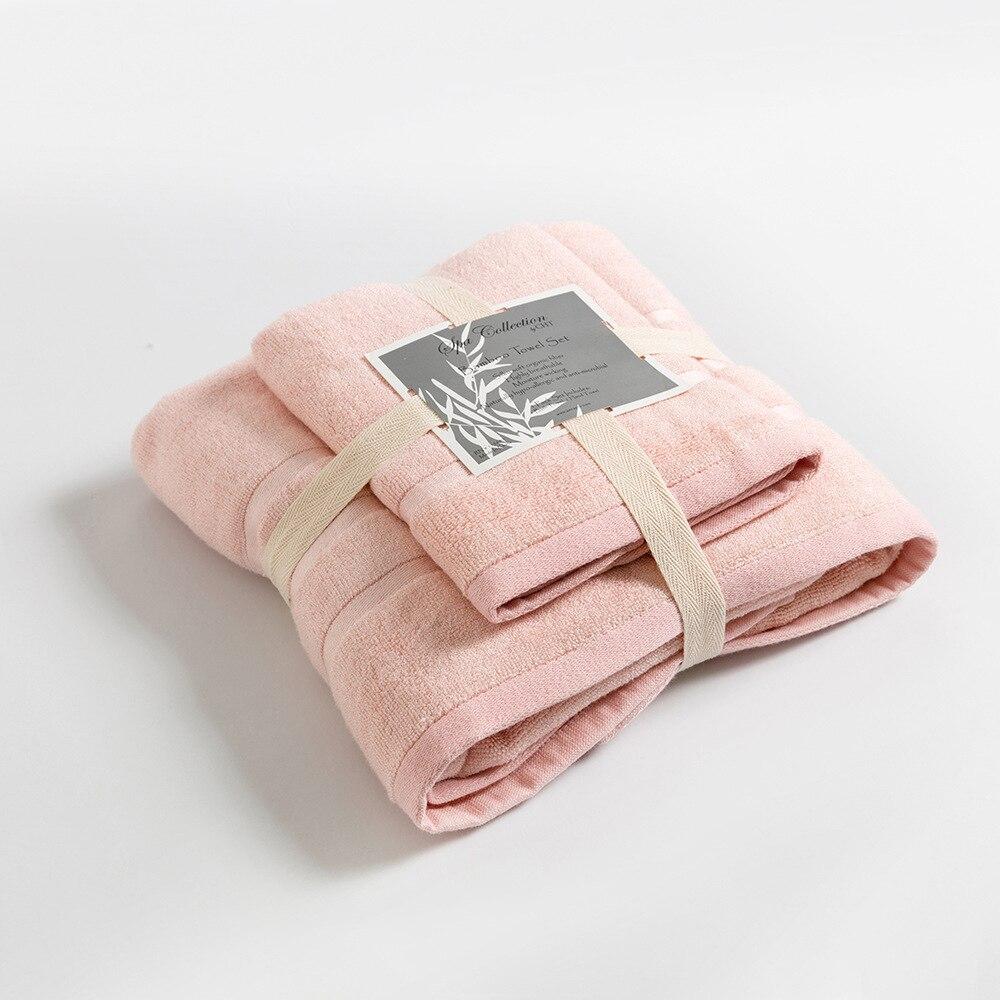 New 1pcs Bath Towel 1 Face Towel Pink Bamboo Fiber Towels Solid Color Toallas High Quality