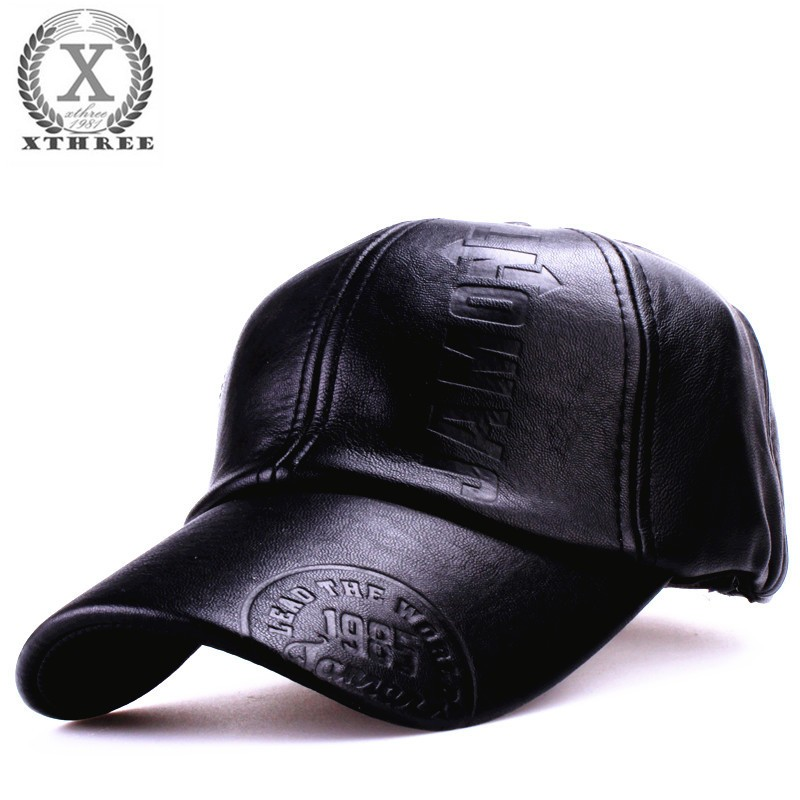 Xthree New fashion high quality fall winter men leather hat Cap casual moto snapback hat men's baseball cap wholesale 20