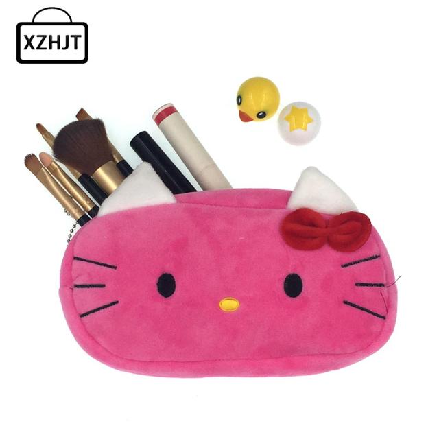 New 2016 Women Cartoon Minions Hello Kitty Zipper Makeup bag Girl Cute Cosmetic Bag travel Storage Bags Make Up Organizer