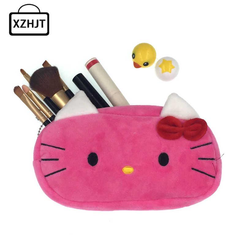 5ca64c00cb77 Women Cartoon Hello Kitty Zipper Makeup Bag Girl Cute Cosmetic Bag travel Storage  Bags Make Up