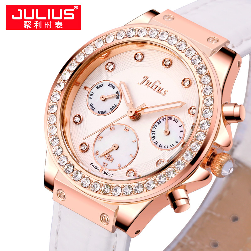 Real Functions Lady Women's Watch ISA Quartz Hours Woman Fashion Dress Shell Leather Girl's Birthday Christmas Gift Julius Box real multi functions julius women s watch isa quartz hours fine fashion dress bracelet sport leather birthday girl s gift box