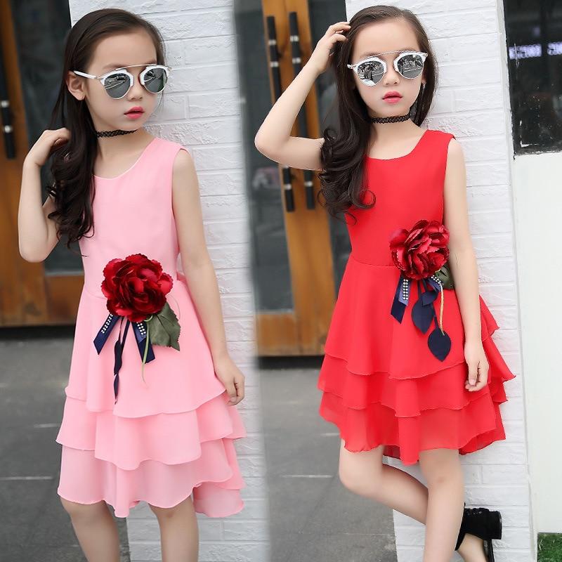 Kids 2019 ny sommer stor blomst chiffon pige kjole ærveløs fast farve kjole 3 4 5 6 7 8 9 10 11 12 år baby pige tøj
